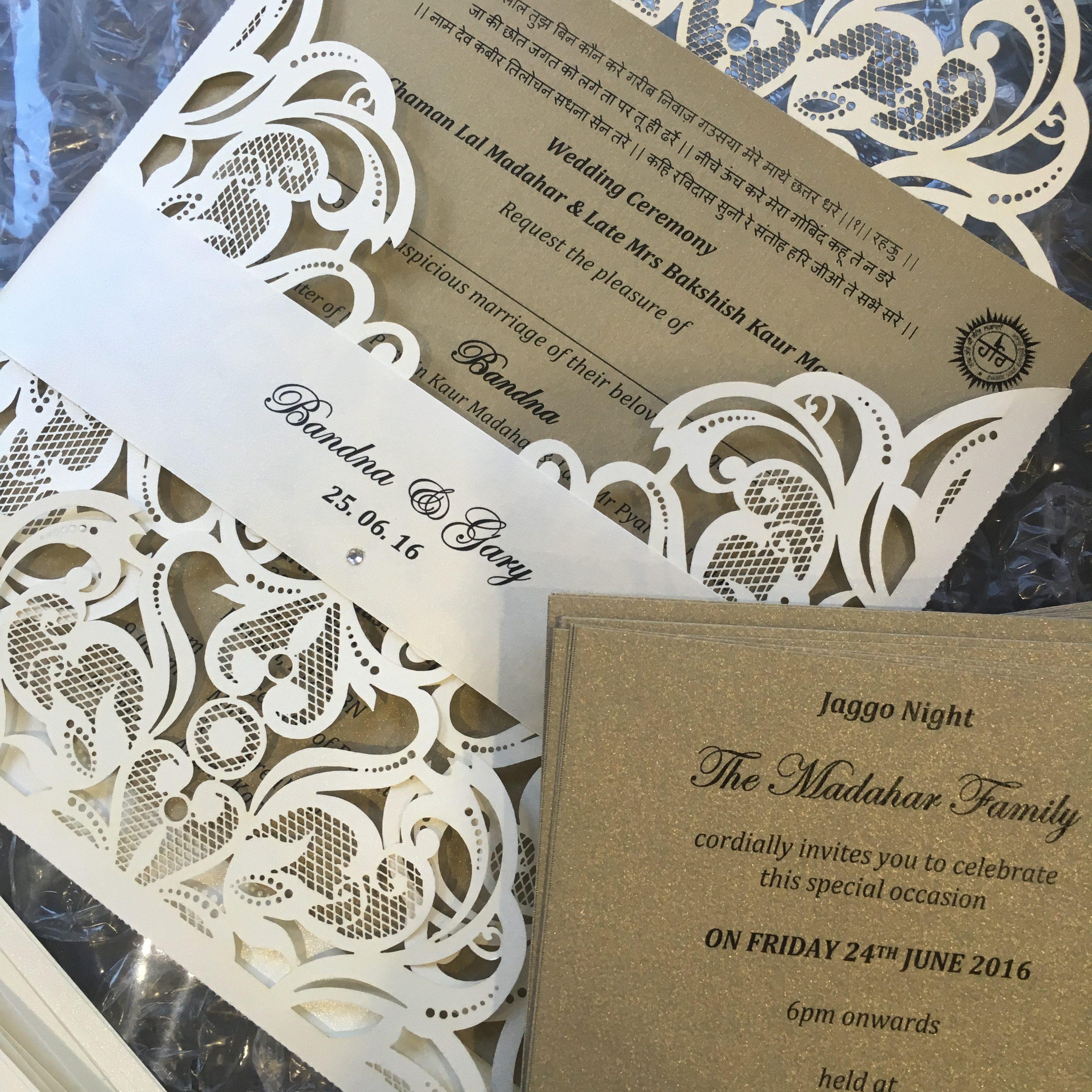 Laser Cut Invitations Wedding: Bandana Laser Cut Wedding Invitation With A Custom Belly Band
