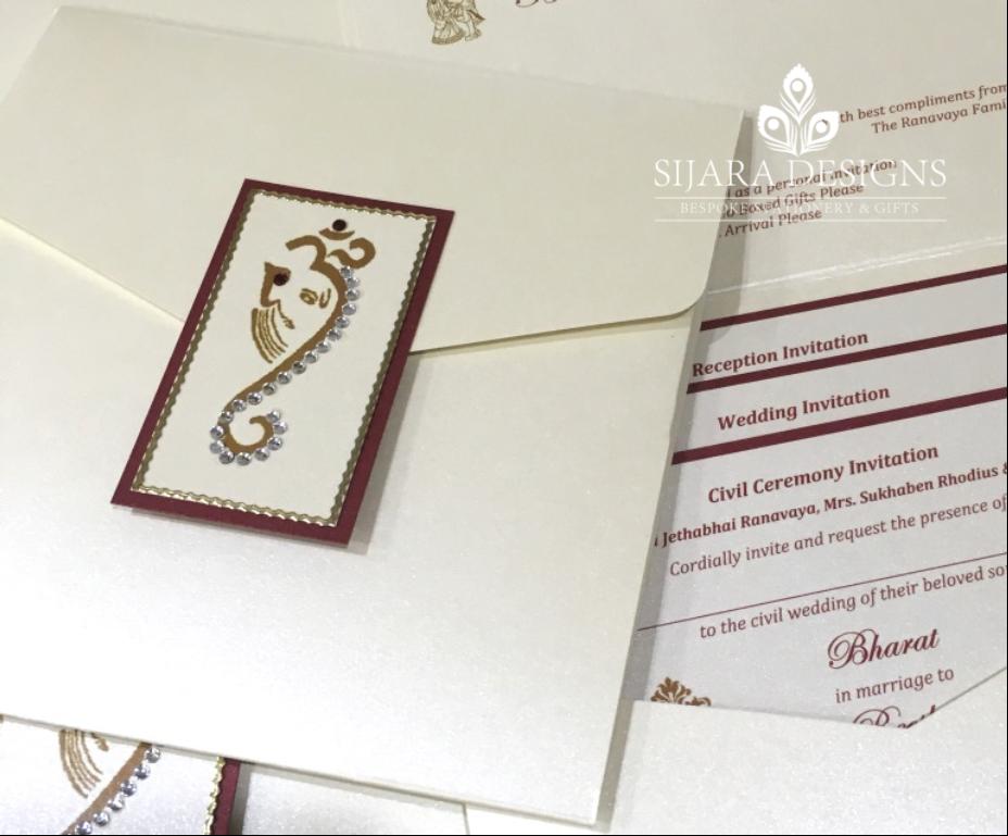 Hindu Wedding Invitation: Bharat Hindu Wedding Invitation With Ganesh Finished With
