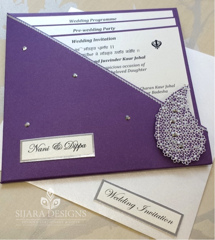 Uropa Paisley Cadbury Purple Invitation - Sijara Designs