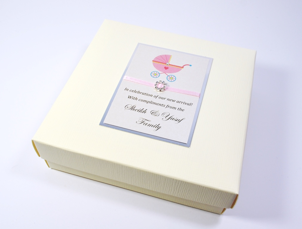 Mithai Box Printed With A Pink Pram And Baby S Name And Date